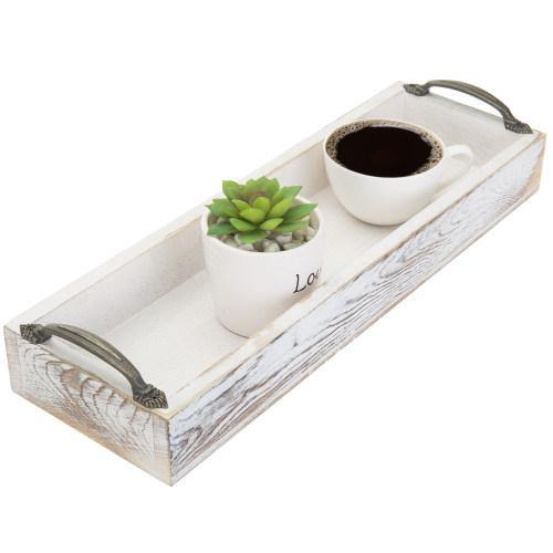Whitewashed Rectangular Wood Serving Tray - MyGift