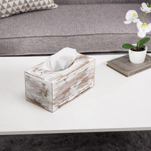 Whitewashed Tissue Box Cover, Rectangular