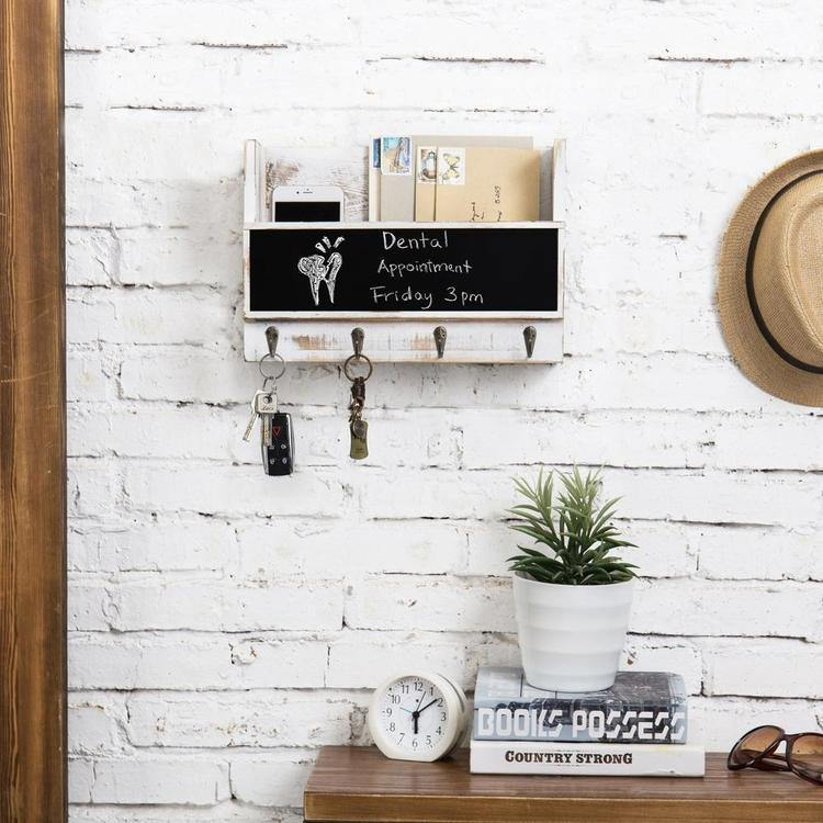 Whitewashed Wall-Mounted Mail Holder