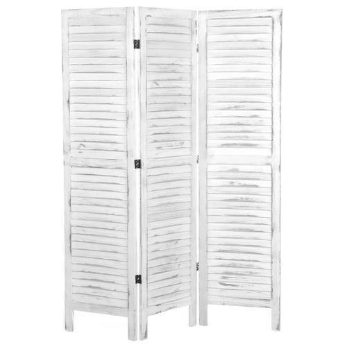 Whitewashed Wood 3 Panel Screen Room Divider - MyGift