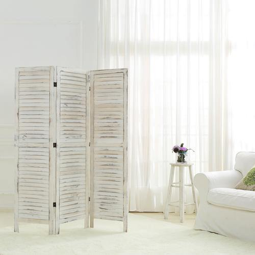 Whitewashed Wood 3 Panel Screen Room Divider