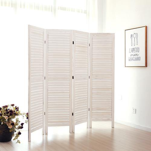 Whitewashed Wood 4-Panel Room Divider