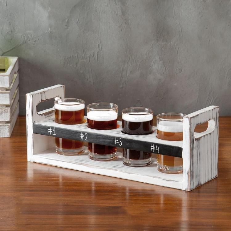 Whitewashed Wood Beer Flight Set with Glasses