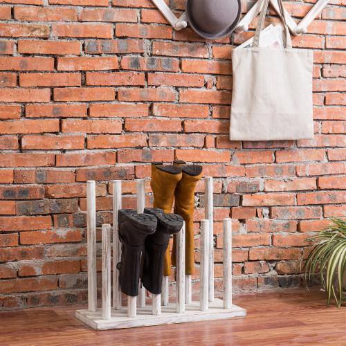 Whitewashed Wood Boot Storage Rack, For 6 Pairs