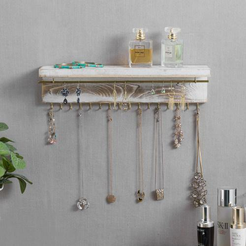 Whitewashed Wood & Brass Metal Wall Mounted Jewelry Display Rack