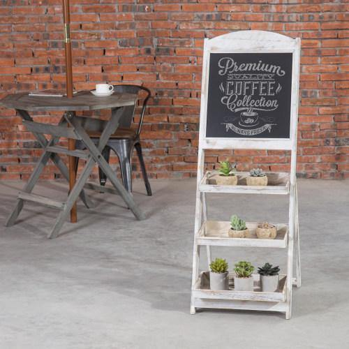 Whitewashed Wood Chalkboard Easel with 3 Display Shelves