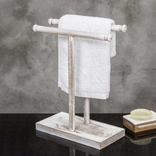 Whitewashed Wood Countertop Hand Towel Stand