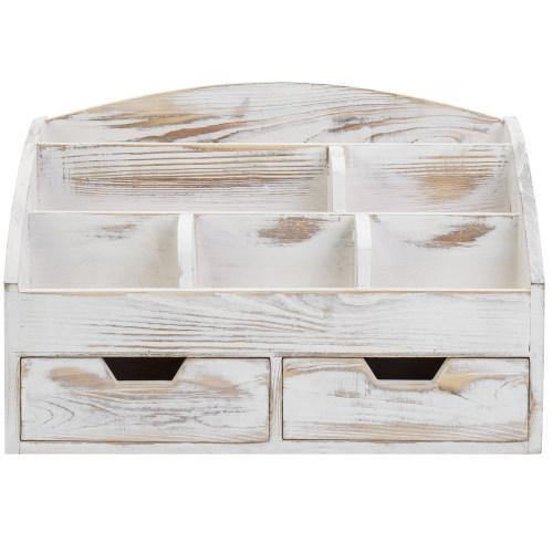 Whitewashed Wood Desktop Organizer with 2 Drawers - MyGift
