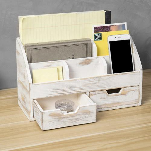 Whitewashed Wood Desktop Organizer with 2 Drawers