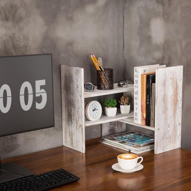 Whitewashed Wood Adjustable Desktop Office Organizer Display Shelf - MyGift Enterprise LLC