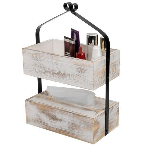 Whitewashed Wood & Matte Black Metal Counter-Top Shelf with Tissue Box - MyGift