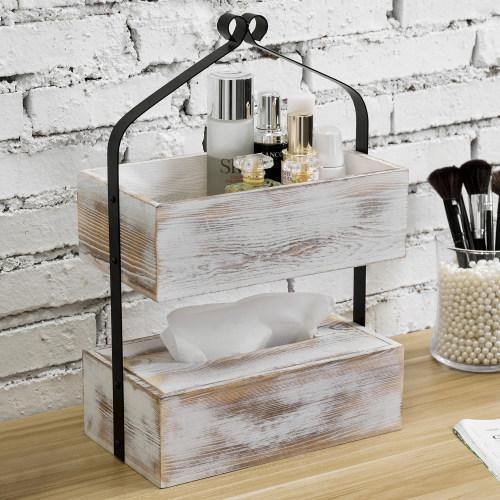 Whitewashed Wood & Matte Black Metal Counter-Top Shelf with Tissue Box