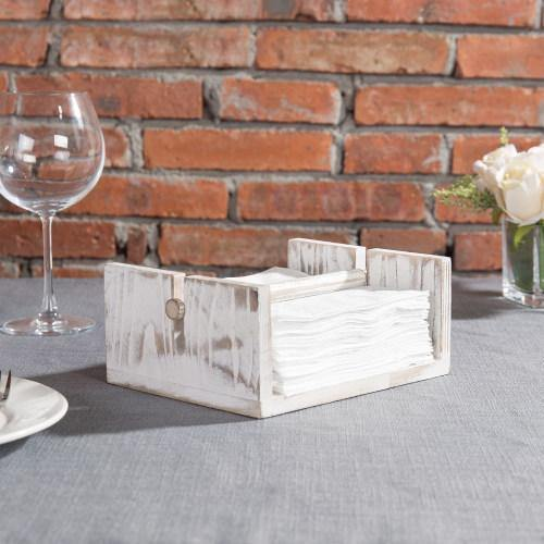 Whitewashed Wood Napkin Holder