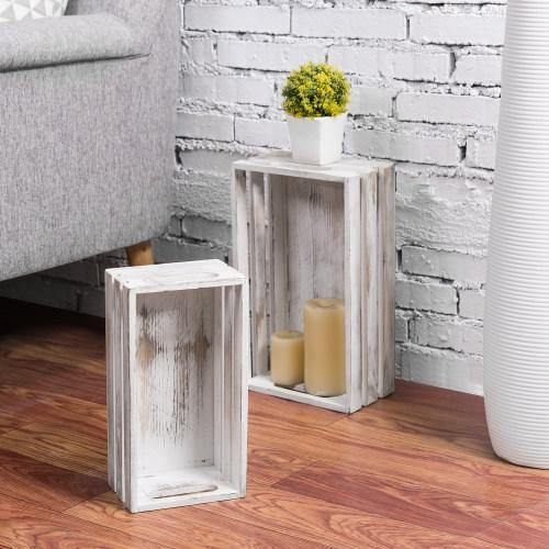 Whitewashed Wood Nesting Storage Crates, Set of 2