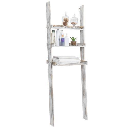 Whitewashed Wood Over-The-Toilet Ladder Shelf