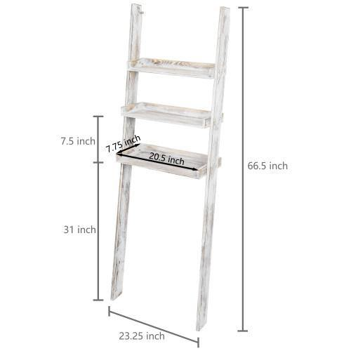 Whitewashed Wood Over-The-Toilet Ladder Shelf - MyGift