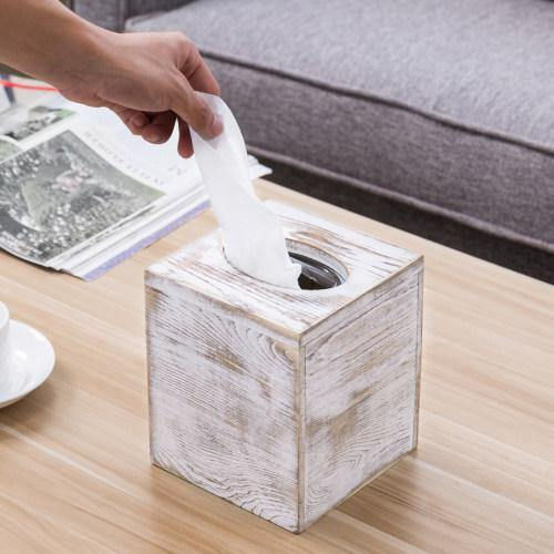 Whitewashed Wood Square Tissue Box Cover