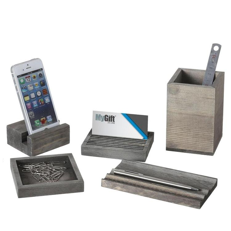 Wood 5-Pc Desk Set w/ Pen Tray, Pencil Cup, Memo Pad & Card Holders, Phone Stand - MyGift Enterprise LLC
