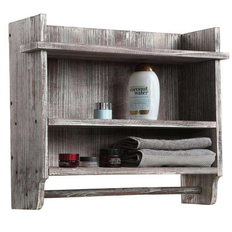 Wall Mounted Wood Bathroom Organizer Rack w/ 3 Shelves & Hanging Towel Bar - MyGift Enterprise LLC