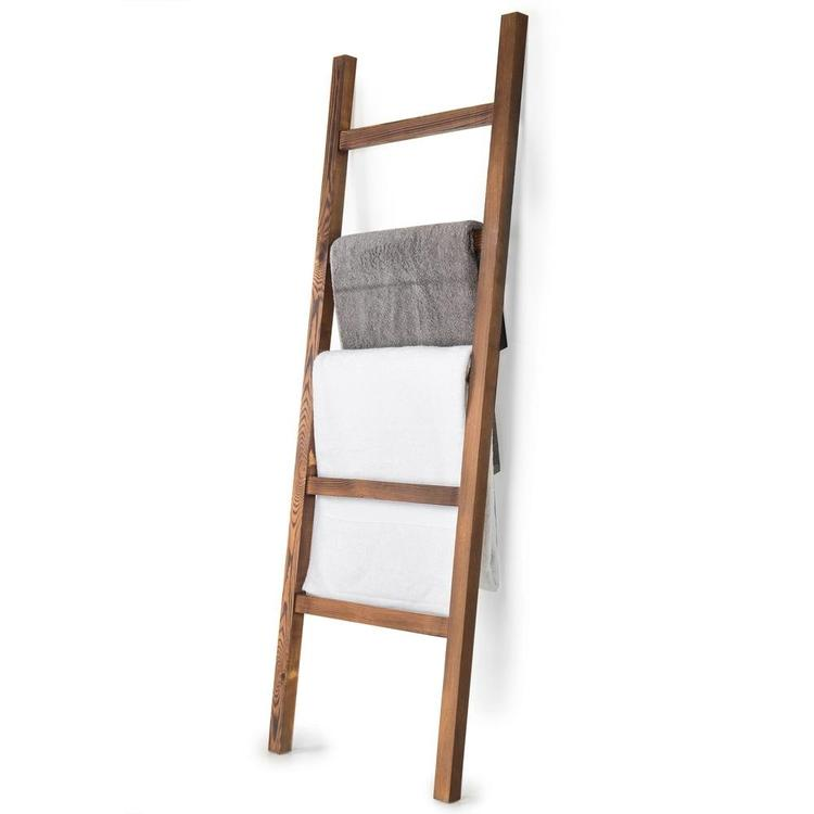 4.5-Foot Brown Wood Decorative Blanket Storage Ladder - MyGift Enterprise LLC