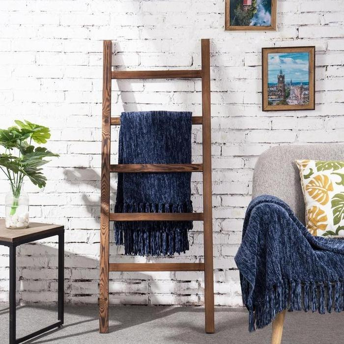 Wood Blanket/Towel Ladder, Natural Reclaimed Wood