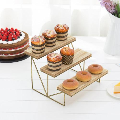 Wood & Brass Cupcake Display Riser