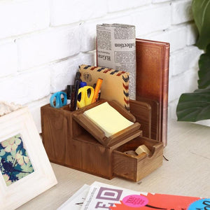 Wood Desk Organizer with Memo Pad Holder