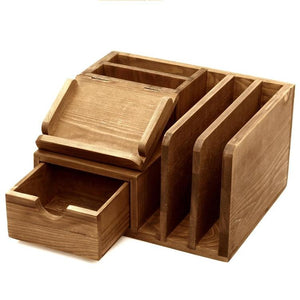 Rustic Wood Desk Accessory Storage Organizer / Mail Sorter / Post It Note Memo Pad Holder - MyGift Enterprise LLC