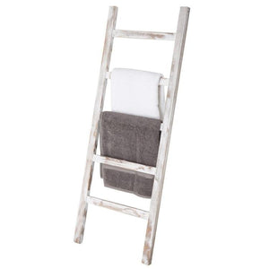 Wall-Leaning Vintage White Wood Ladder Blanket & Towel Rack - MyGift Enterprise LLC