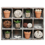 12 Compartment Freestanding / Wall Mounted Dark Brown Wood Shadow Box Shelves - MyGift Enterprise LLC