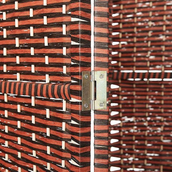 Woven Brown Rattan Wood Room Divider Screen, 4 Panel
