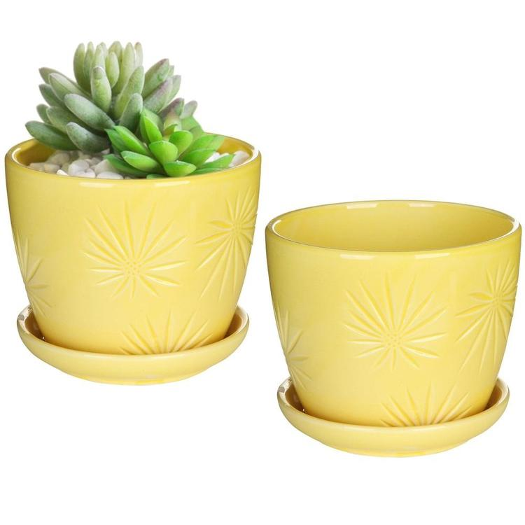 Yellow Sunburst Design Ceramic Flower Planter Pots with Saucers, Set of 2 - MyGift Enterprise LLC
