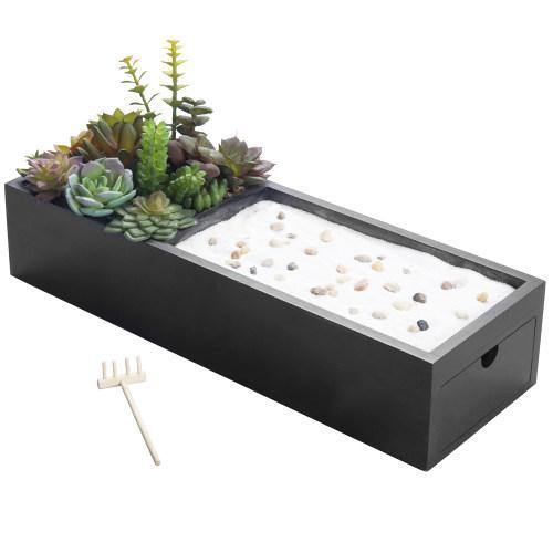 Zen Garden & Artificial Succulent Plants with Black Wood Storage Drawer - MyGift