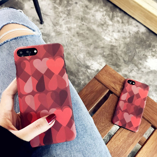 3D Matte Love Heart Case for iPhone 6/6s, iPhone 6/6splus, iPhone 7, iPhone 7plus, iPhone 8, iPhone 8plus and iPhone X