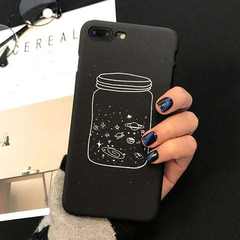 Black Saturn x Bottled Planets Design Case for iPhone 6/6s, iPhone 6/6splus, iPhone 7, iPhone 7plus, iPhone 8 and iPhone 8plus. Affordable, trendy and elegant black design back cover that protects your iPhone on dust and dirt.