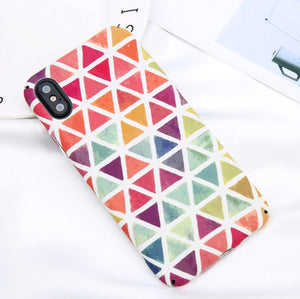 Colorful Triangle Pattern Case for iPhone X.  Affordable, trendy and colorful design for iPhone lovers. Our trendy and fashionable iPhone cases suit from all ages and gender all over the world.Get your iphone casing and accessories only at RCJR Supply.