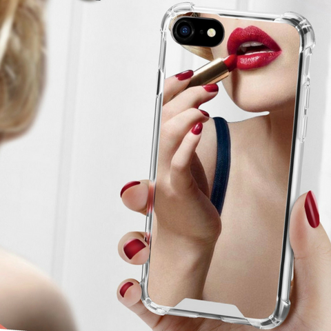 Mirror Phone Case for iPhone. Design Case for iPhone 6/6s, iPhone 6/6s Plus, iPhone 7, iPhone 7 Plus, iPhone 8 and iPhone 8 Plus. Affordable, trendy and cool design for makeup lovers. Mirror Phone Case for iPhone suit your cool and chic style. Our Mirror Phone Case for iPhone comes in different color.Get your Mirror Phone Case for iPhone casing and accessories only at RCJR Supply.