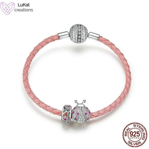 LuKat Red Ladybug Charm Leather Bracelet