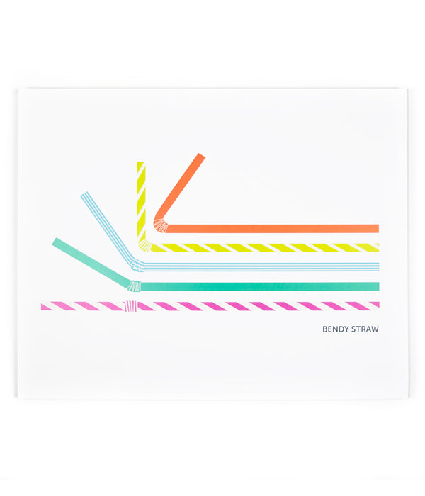an illustrated drawing of six plastic straws in multi-colors