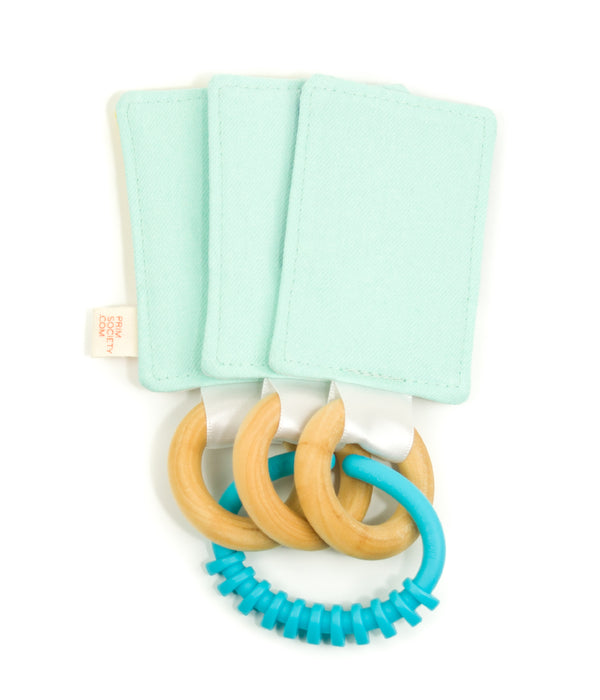 Color Swatch Baby Teether & Crinkle Toy - sky