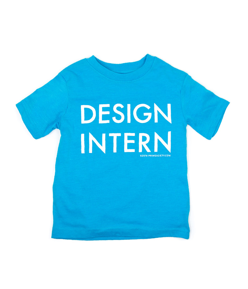 a turquoise blue t-shirt with the phrase Design Intern printed in large, white letters on the front