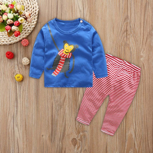 Long Sleeves Cartoon Print Outfits Set