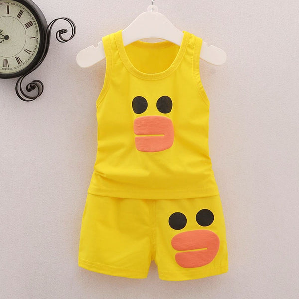 Cartoon Vest T Shirt Shorts Outfits Set