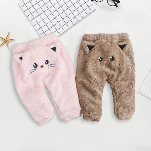 Cartoon Cat Print Thick Warm Pants