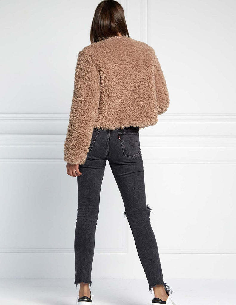 CROPPED FLUFFY FAUX FUR