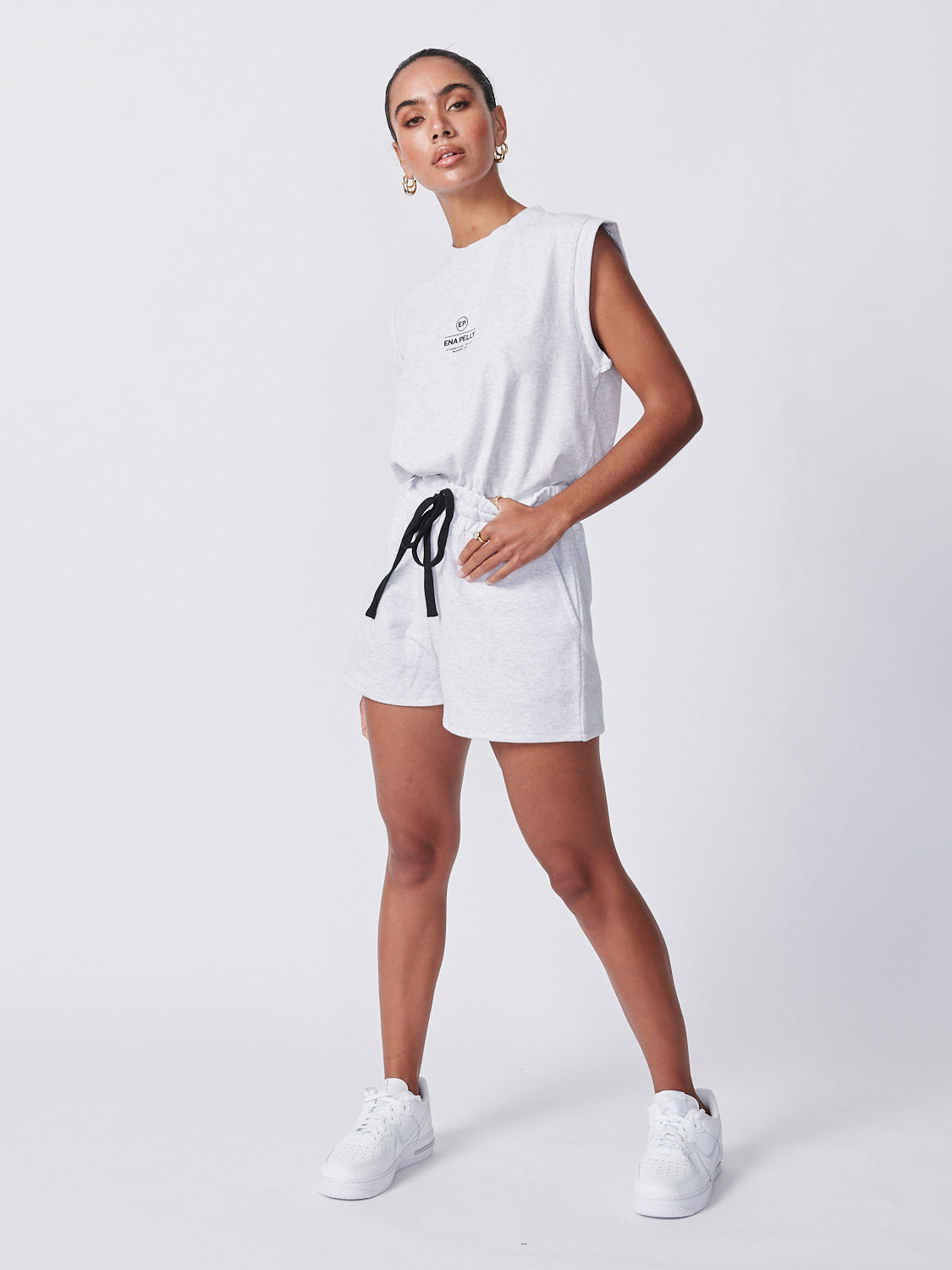 Essential Track Short - White Marle