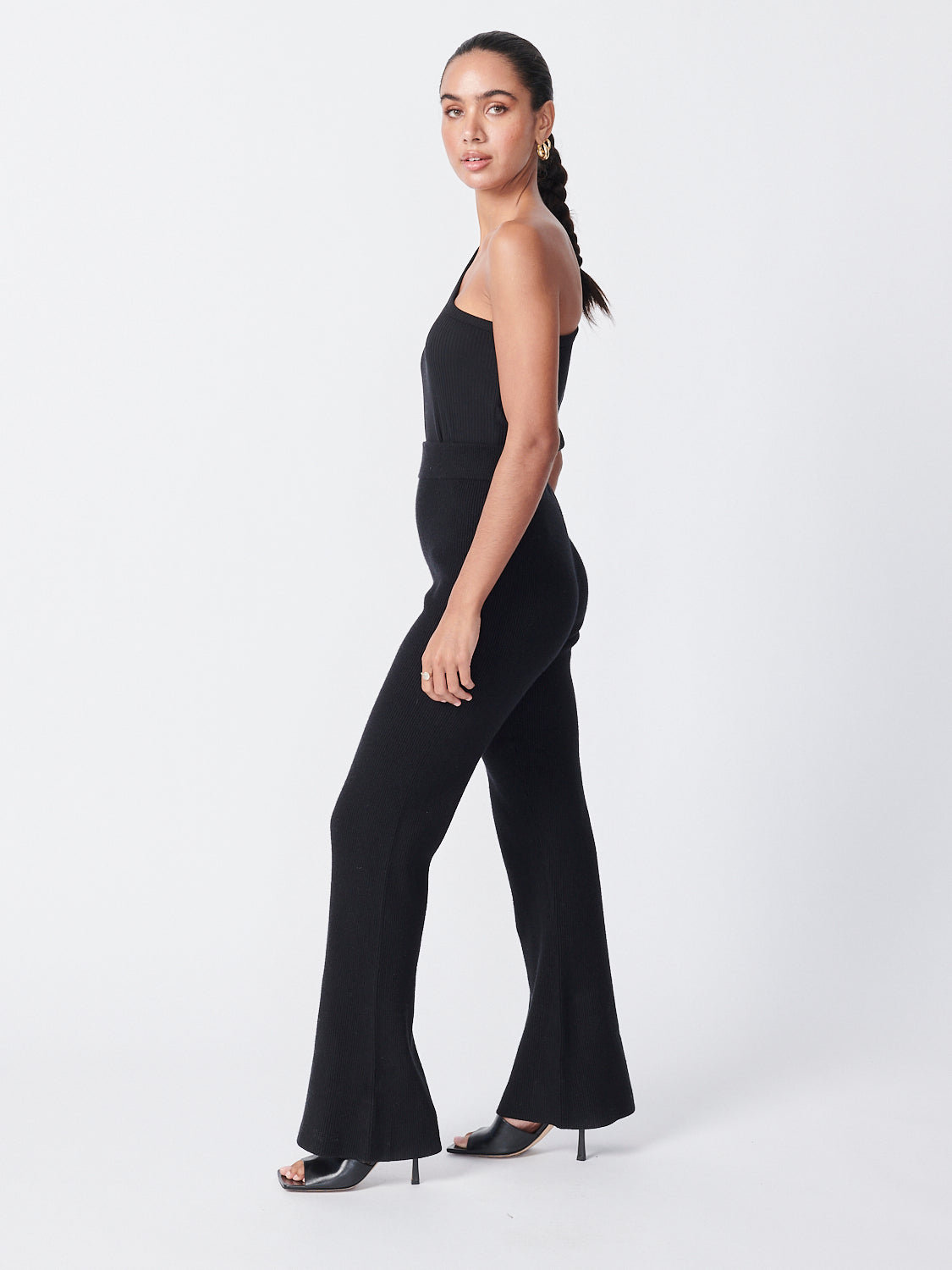 Flare Knit Pants - Black