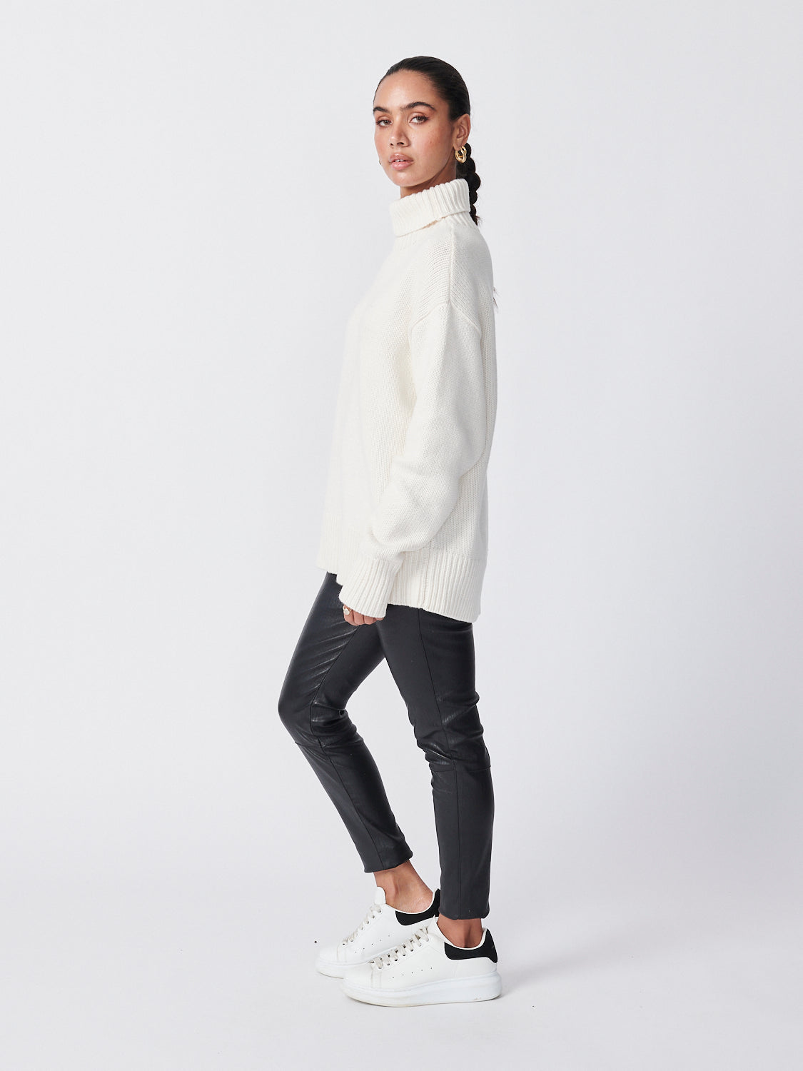 Roll Neck Knit - Snow