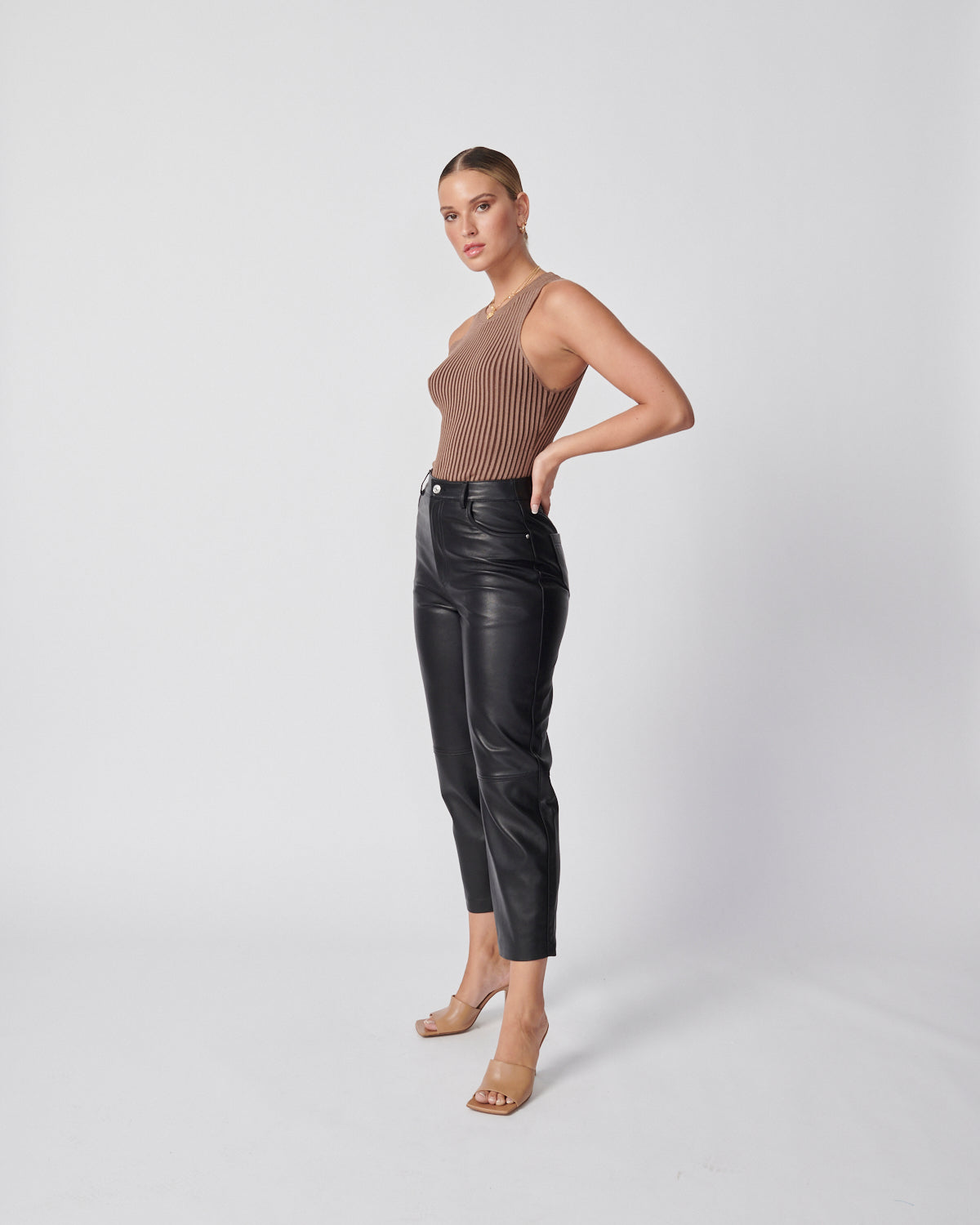 Straight Leg Leather Pant - Black