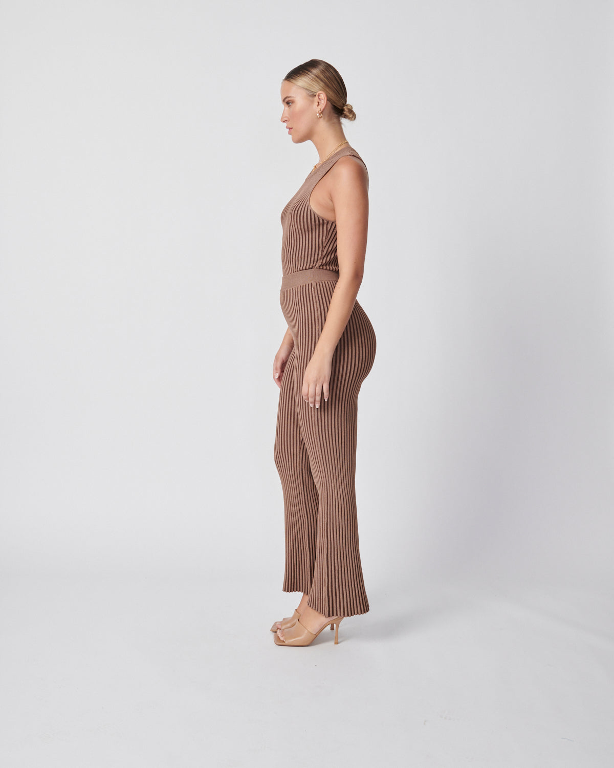 Contrast Knit Pants - Tonal Tan